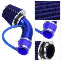Moteur de voiture bleue Tuyau d'alimentation à air Filtre à air Champignon Productivité Filtre à air d'entrée de 76mm 160mm Flow High High Conteau à air froid
