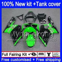 Body +Tank For KAWASAKI 600CC ZX600 ZX636 ZX-6R 2003 2004 211MY.23 ZX 636 6 R ZX6R 03 04 ZX-636 ZX-600 ZX 6R 03 04 Fairing Black Green
