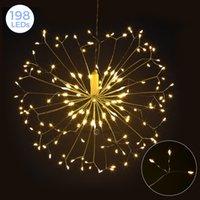FR Stock 198 LEDs pendurando luz starburst com controle remoto bateria alimentada ao ar livre indoor à prova d'água conduzida luzes de corda