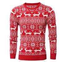 Quente malha Snowflake Impresso Camisolas Outono Inverno Homens da forma do Natal Mens camisola do Tops Pullovers aptidão Camisolas Xmas