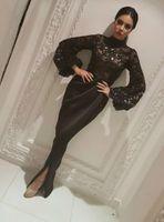 Elegante Dubai Arabia Saudita Manica Lunga Sirena Abiti Da Sera Sheer Paillettes Nero Musulmano Split Lungo Prom Pageant robe de mariée Abiti Del Partito