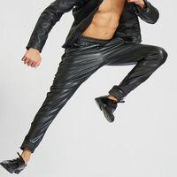أزياء رجالي الهيب هوب سروال فو الجلود مرونة الخصر بو المواد دراجة نارية في الهواء الطلق الحريم السراويل شعاع الفم السراويل رجالي بنطلون القيعان
