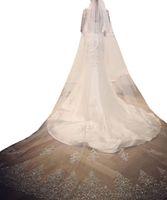 Bling Bling Crystal rebordear velos de novia de encaje apliques con peine nupcial para niñas catedral de lujo de largo longitud de la capilla con cuentas