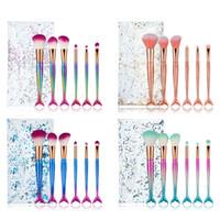 6PCS مجموعة حورية البحر فرش الماكياج مع PVC حقيبة إبهار التعامل مع ملون 4 ألوان مختلطة ماكياج اللون أداة الجمال