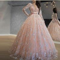 2020 Sparkly Rose Quinceanera Sequin Lace robe de bal Robes de bal Jewel manches longues doux 16 Robe longue formelle Tenue de soirée