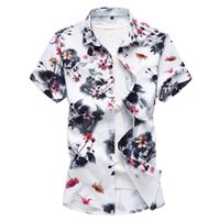 M-7XL New Fashion Summer Mens Flower Shirt Short Sleeve Floral Plus Size Casual Slim Fit Shirts