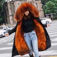 عرض خاص جديد الشتاء معطف الفرو الفراء النساء معطف الدافئة سترة سميكة سترة ريال طوق مقنع الإناث أبلى