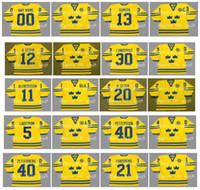 Vintage 2002 Team Sweden Jerseys 12 DANIEL SEDIN 30 LUNDQVIST 5 NICKLAS LIDSTROM 40 ELIAS PETTERSSON 40 HENRIK ZETTERBERG Hockey personalizado