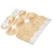 13x4 Body Wave Pizzo frontale Chiusura 10A Remy Blonde Vergini eurasiatici umani Hair Products 613 Diritto naturale 8-20inch dei capelli del bambino pre pizzicata