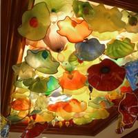 Большой отель Абстрактный дизайн выдувное стекло люстры Пластинчатые Стиль Мода муранского стекла Декоративные тарелки Люстры