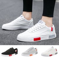 New shoes men summer Breathable Canvas Lace- Up Sneakers Soli...