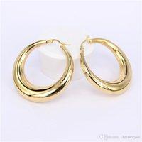 Nova cor de ouro de duas cores mulheres presentes venda moda jóias esposas de aço inoxidável redondo brincos de argola