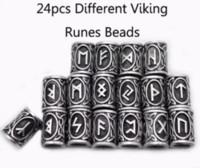 24 ADET Gerçek Fotoğraf Yüksek Kalite Norse Viking Runes Metal Charm Boncuk Bilezikler için Bilezikler için Sakal veya Sakal veya Saç Için DIY