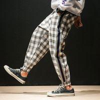 4 Farben Männer Streetwear Hip Hop Beiläufige Plaid Hose Männliche Frauen Mode Lose Pluderhosen Paar Hosen Jogger Jogginghose