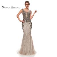 Mocha Rhinestone Crystals Mermaid Senza maniche Party Prom Sexy Maxi Dress Backless Sera Wear Wear Boutique Abiti 5398