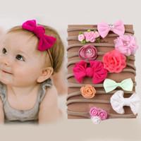 Clipe 10pcs Crianças Meninas Cabelo Floral Bow Pérola Princesa Headband Criança Bebé Elastic bowknot fresco Estilo Headwear Acessórios