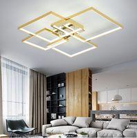 Modern LED-ljuskrona för vardagsrum Matsal Sovrum Luminarias Par Teto Chrome / Guldpläterad AC90-260V Lighting Light Fixture LLFA