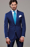 Custom Made Blue Color Slim Fit Two Buttons Business Groom Tuxedo Process Lapel Groomsmen 2020 New Men Wedding Suits 793