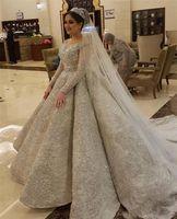 Lüks Pullu Boncuklu Uzun Kollu Balo Gelinlik Vintage Kristal Prenses Artı Boyutu Suudi Arapça Dubai Gelin Kıyafeti