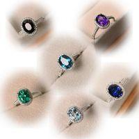 Damla Nakliye Luxury Takı 925 Gümüş Oval Kesim Çok Renkli Topaz CZ Elmas Parti Kadın Wedding Band Yüzük İçin Âşıklar Hediye