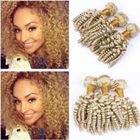 """Russian Blonde Aunty Funmi Bundles de cabello humano 3Pcs 300g # 613 Bleach Blonde Virgin Hair Romántico de cabello humano Tramas 10-30 """"Longitud mixta"""