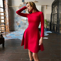 Women Long Sleeve Bodycon Party Dresses Autumn Winter Slimmi...