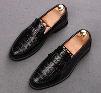 2020 Luxury Оксфорд конструктора Крокодил Pattern Мужчины Формальная обувь мужчины Обручальные партии Броги высокое качество бизнес кожаных ботинки