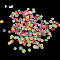 1000 stks / pak Nail Art Fruit Bloemen Veer DIY Design Fimo Cane Segmenten Decoratie Acryl Schoonheid Polymeer Clay Nail Sticker Tool
