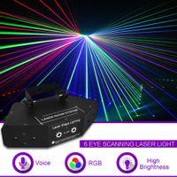 6 눈 RGB 풀 컬러 DMX 빔 네트워크 레이저 스캔 빛 홈 공연 파티 DJ 무대 조명 사운드 자동 A-X6