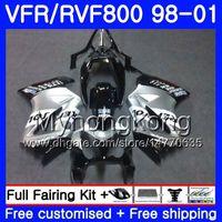 Корпус для Honda Interceptor VFR800R VFR800 1998 1999 2000 2001 259HM.43 VFR 800RR VFR 800 RR Repsol silver VFR800R 98 99 00 01 обтекатель комплект