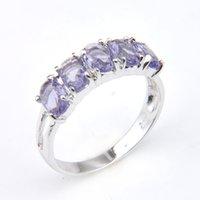 Luckyshine Nuovo arrivo completo nuovo ovale 5- pietra naturale ametista 925 argento sterling placcato per donne fascino regalo Idea anelli scarti gratuiti