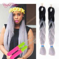 Xpression Flechten Haar Synthetische Haare Weave Jumbo Zöpfe Bulks Erweiterung Cheveux 24inch Ombre Blaue Blonde Farbe Häkeln Ultra Braid Dhgate