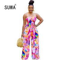Tie Dye Strapless Sexy Rompers Womens Jumpsuit Elegant Fashi...