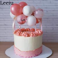 Leeiu Confetti Palloncino Torta Toppers di nozze Torta di compleanno baby shower decorazioni accessori oro rosa Ballons bandiere di partito