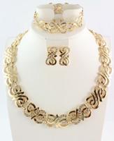 Kadınlar Düğün Kristal Takı Setleri Altın Gümüş Renk Kolye Küpe Yüzük Bilezik Afrikalı Boncuk Takı Setleri J190705 ayarlar