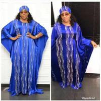 New Haute Couture sexy strass perles Robes à manches longues encolure ras du cou Maxi Robe Taille Plus Femme élégante africaine Robes A359