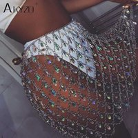 AKYZO Sexy Bling corpo in metallo paillettes catena gemma gonna donne pazza estate Beach Hollow fuori cristallo Locale notturno Party minigonne