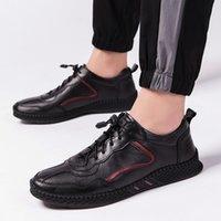 Chaussures pour hommes baskets pour homme véritable leather38 45 ~ chaussures à la main des hommes Flats doux hommes occasionnels multicolores coréen 2019 nouveau