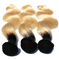 T1b / 613 أومبير شقراء الشعر حزمة 8 بوصة -30 بوصة الجذور الداكنة مع # 613 الجسم موجة الشعر نسج البرازيلي ريمي الإنسان الشعر