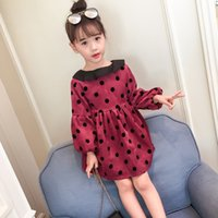 Girls winter princess dresses kids dot velvet thick dress ba...