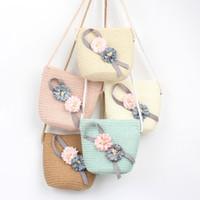 Kid Девушки соломы сумка лето BOHO сумки для девочек Сумка Цветок Crossbody Travel Beach D20