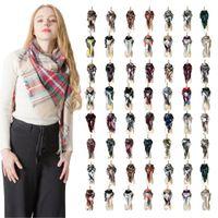 Blanket Plaid femmes hiver Cachemire chaud et douillet Tartan Wrap surdimensionné Châle Cape Triangle Bandanas cou Foulard stripeds Carves