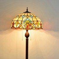 유럽 스타일의 티파니 스테인드 글라스 램프 바로크 크리 에이 티브 레트로 커피 숍 침실 거실 학습 플로어 램프 TF027
