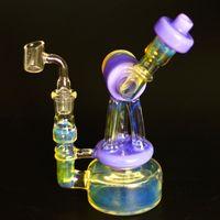 Prix usine nouveau design recycleur bongs coloré enivrant de l'huile de conduite d'eau en verre banger quartz plate-forme de bangs cire gréements pipes en verre narguilés