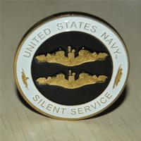 24K vergoldet UNITED STATES NAVY SILENT SERVICE CHALLENGE COIN SUBMARINE SERVICE neues, freies Verschiffen NAGELNEU COLLECT COIN