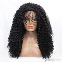 Kinky Curly Synthetic Lace Wig For African American Heat Resistant Fiber Hair Glueless Curly Synthetic Lace Front Wigs With Baby Hair