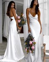 Белые ремни спагетти сатин русалки длинные платья подружек невесты 2020 Ruched Boho Beach Main of Honor Wedding Guest Plasss Plus Размер BM1549