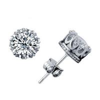 Moda Corona Wedding Orecchino 925 Sterling Silver CZ diamanti simulato fidanzamento Orecchini Beautiful Wedding Jewelry fidanzamento regalo