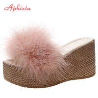 Aphixta 9cm Heels Slides Women's Shoes Woman Slippers Faux Fur Slides Wedge Platform Women Shoes Beach Sandals Zapatos Mujer