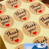 """Papel Kraft """"Gracias"""" Etiqueta adhesiva con corazón rojo, diámetro Etiqueta de etiqueta de foca de 38 mm para DIY Regalo Decoración y pastel Embalaje para hornear"""